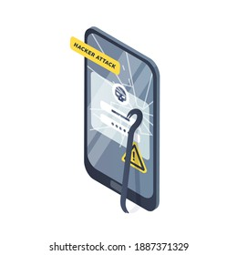 Concept of smartphone under hacker attack, phishing and personal data theft. Accident of cybercrime, account hacking or profile breakage. Device with crashed display. Vector isometric illustration