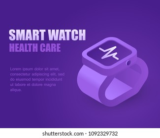Concept smartwatch healthcare. Vector illustration isometric smart watch. Landing page with technology watch.