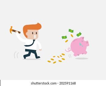 Concept Smashed piggy bank businessman running.