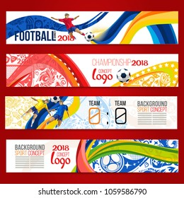 Concept of soccer player with colored geometric shapes assembled in figure football  Background of different color bands intertwined. champion football game. Banner.