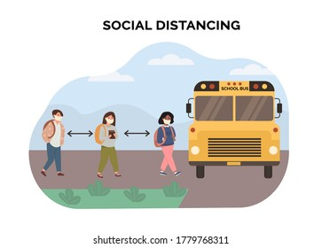Concept of social distancing at school. Multiethnic, mix race kids maintaining a safe distance when picked up by yellow school bus. Scene of children wearing face mask. New normal. Vector illustration