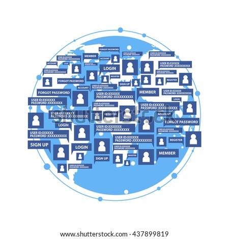 Concept Social Global Network Username Password Stock Vector
