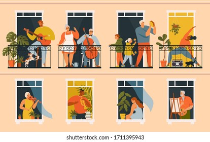 The concept of social isolation during the coronavirus pandemic. People playing musical instruments, cello, guitar, trumpet, buden, violin and doing yoga on balconies. Stay home quarantine.
