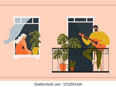 The concept of social isolation during the coronavirus pandemic. People playing musical instruments guitar on balconies. Stay home quarantine.