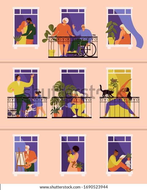 The concept of social isolation during the coronavirus pandemic. Windows with people inside their houses. Balconies with people during quarantine. Stay home. Banner COVID-19.