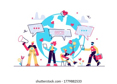 Concept social media, chat, video, news, messages, world in web, chatting, for web page, banner, presentation, social media, . Vector illustration communication via the Internet, social networking,