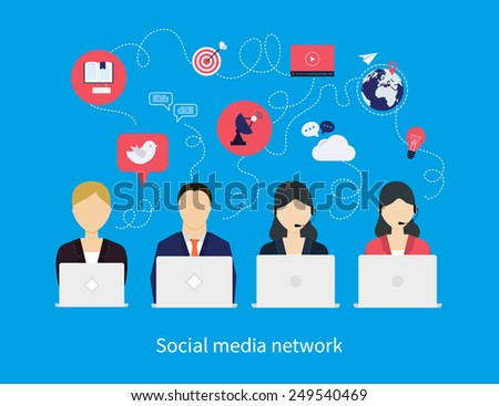 Concept of social media network, project management, time management, marketing research, strategic planning.
