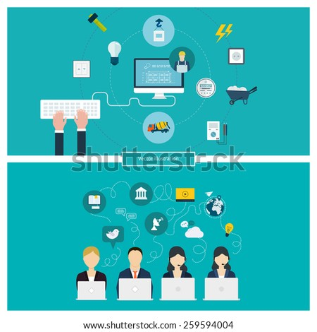 Concept Social Media Network Project Management Stock Vector