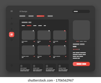 Concept for social media, online store, hotel reservation. Wireframes screens. Dashboard UI and UX Kit design. Use for mobile app or website. Dark mode.