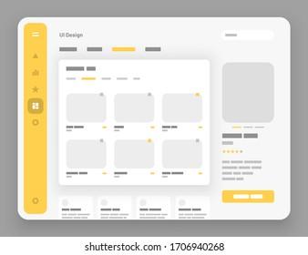 Concept for social media, online store, hotel reservation. Wireframes screens. Dashboard UI and UX Kit design. Use for mobile app or website.