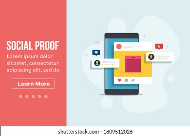 Konzept der sozialen Sicherung, Social Media Marketing, Werbung in sozialen Medien - flache Design-Vektorlandungsseite mit Symbolen und Texten