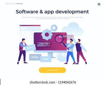 Concept of software development and applications. Team of young cartoon staff is working on programming site. Cooperation in web agency. Landing page template. Vector flat illustration.
