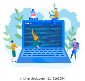 Concept Software development and programming, web design, team work, program code on laptop,  for web page, banner, social media, cards, posters. Vector illustration big data processing, start up