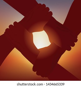 Concept of solidarity and friendship, with four intertwined arms symbolizing fraternity and partnership, in front of a setting sun.