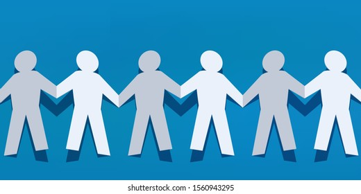 Concept of solidarity and peace, with a human chain cut paper showing people who hold hands to show their unity.