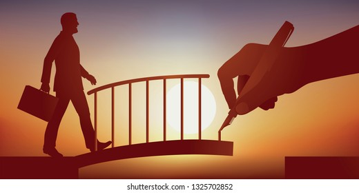 Concept of the solution, with a hand drawing a bridge to facilitate the crossing of an obstacle to a businessman and help him achieve his goal.