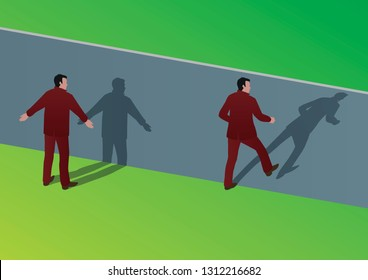 Concept of the solution to an insoluble problem, with an optical illusion showing a man blocked by an obstacle and another succeeding to cross it.