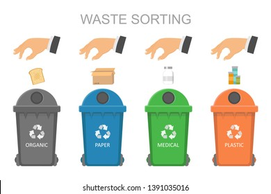 The concept of sorting garbage for the environment. Sorting and recycling. Sorting and disposal of waste into containers, proper sorting of waste in containers.
