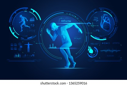 concept of sport science technology, running man with medical analysis interface