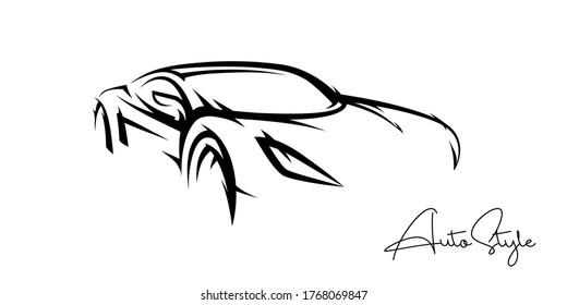 Concept sports car line silhouette. Auto supercar showroom emblem design. Performance motor vehicle dealership logo style design. Vector illustration.