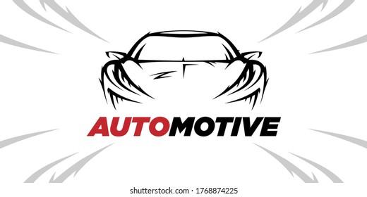 Konzeption des Logo-Designs für Sportwagen. Automobil-Supercar-Showroom-Symbol. Leistungszeichen des Kraftfahrzeughandels Vektorgrafik.
