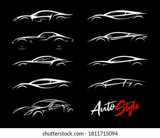 Konzept Sportwagen Silhouetten Set. Symbole für das Leistungslogo für Kraftfahrzeuge. Supercars Schild. Auto-Style-Dealer Transport Profil Vektorgrafiken.