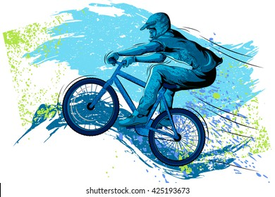 Concept of sportsman Cycling. Vector illustration