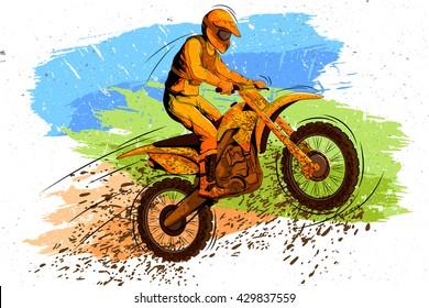 Concept of sportsman doing Motorcross. Vector illustration