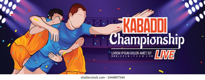 Concept Of Sportsman Playing Kabaddi, banner