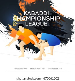 Concept Of Sportsman Playing Kabaddi,Poster Or Banner Template Design.