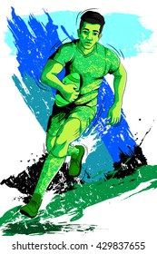 Concept of sportsman playing Rugby. Vector illustration