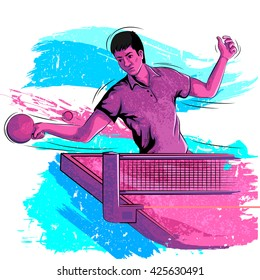Concept of sportsman playing Table Tennis. Vector illustration