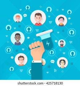 Concept of spreading information from person to person, creating the growth in the messages exposure and influence. Modern flat design illustration of viral marketing