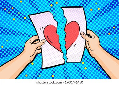 Concept of a star-crossed love affair in pop art style. Hands hold a torn sheet of paper with a picture of a broken heart