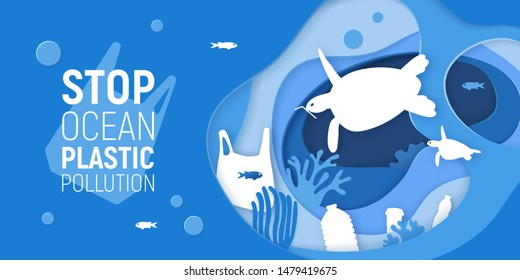 Concept of Stop Ocean Plastic Pollution. Paper cut underwater background with plastic rubbish, turtles and coral reefs. Save the ocean concept. Eco problem poster. Paper art vector illustration