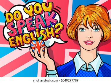 Concept of studying English or travelling. Beautiful Girl with apple. Phrase Do you speak English in Comics speech bubble. Woman in pop art style.