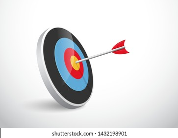 The concept of the success of the arrow bow to the target. Vector Illustration.