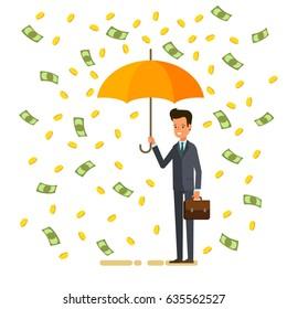 Concept of success. Businessman holding an umbrella and standing under money rain. Flat design, vector illustration.