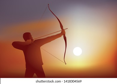 Concept of success by reaching his goal, with an archery firing his bow before firing his arrow at his target.