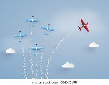 concept of success ,difference vision and target. red plane separated from the squadron ,illustrations made the same paper art and craft style.