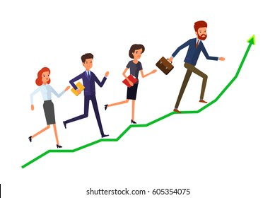 Concept of success. A group of office workers are running on graph growth up. Flat design, vector illustration.