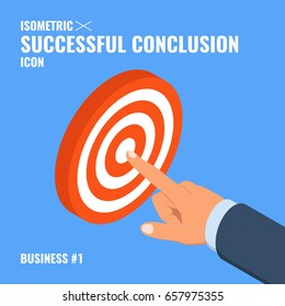 Concept of success with hand pointing at target successful conclusion isometric flat vector illustration