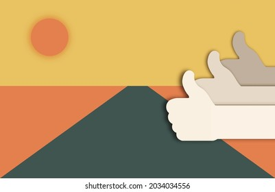 The concept of success. Hands with thumb up gesture. Concept in modern 3d paper cut out style. Eps10 vector illustration.