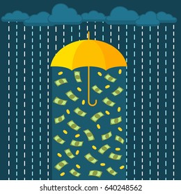 Concept of success. Protection and saving money. Umbrella and money rain. Flat design, vector illustration.