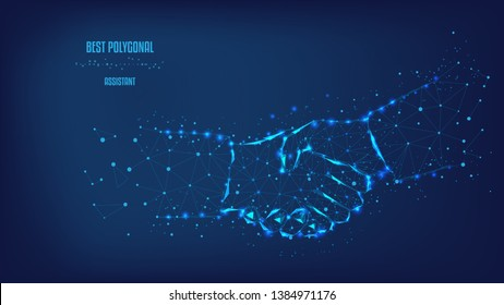 Concept of a successful business project. Handshake from triangles and luminous points. Background of beautiful dark blue night sky. Vector Polygonal illustration. Low poly.