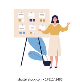 Concept of successful task completion, effective work planning, time management. Happy woman stand by clipboard with note, show gesture ok. Organize agenda. Flat vector illustration isolated on white