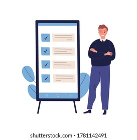 Concept of successful task completion, organize effective daily plan, time management. Happy man stand by clipboard with big mobile interface. Flat vector illustration isolated on white background