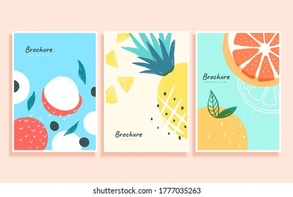 Concept of summer fruit in abstract Memphis design, cover template for brochure, flyer, and poster use