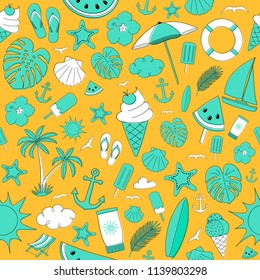 Concept of summer wrapping paper with colourful icons. Vector.