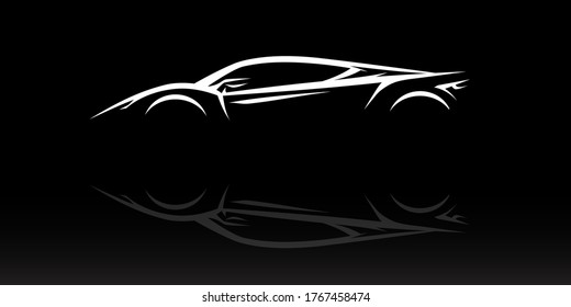 Concept Supercar Silhouette. Auto sports car showroom emblem design. Performance motor vehicle dealership logo style design on black background. Vector illustration.